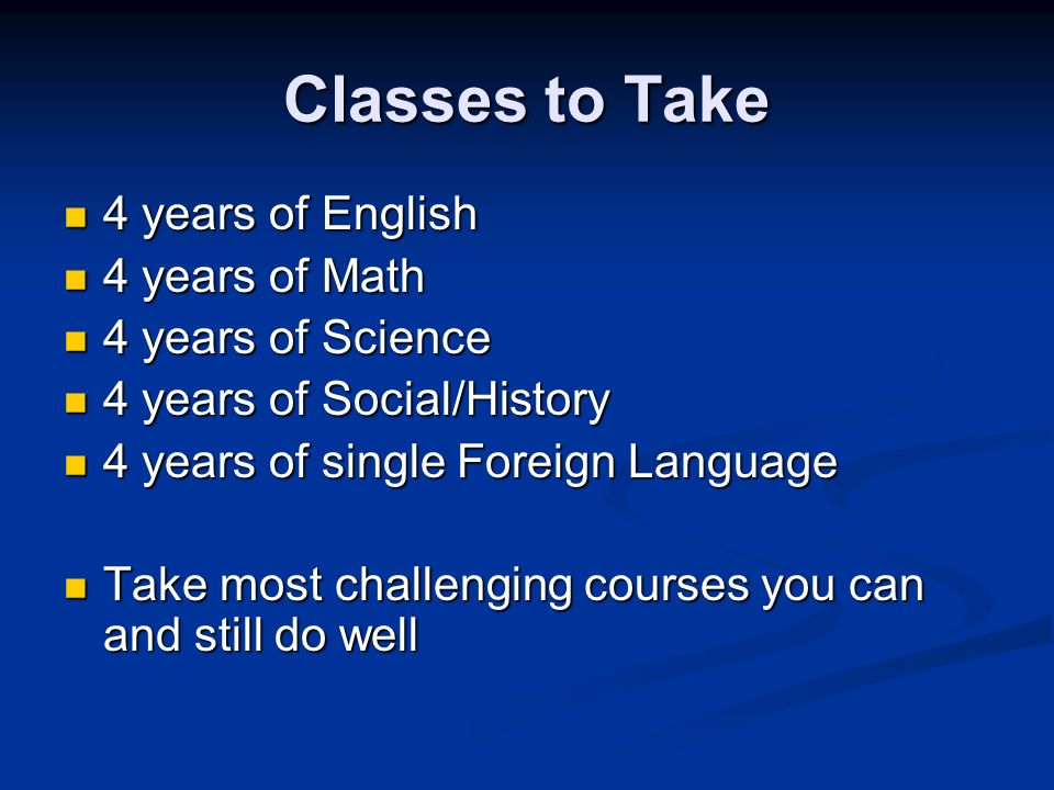 Classes to Take 4 years of English 4 years of English 4 years of Math 4 years of Math 4 years of Science 4 years of Science 4 years of Social/History 4 years of Social/History 4 years of single Foreign Language 4 years of single Foreign Language Take most challenging courses you can and still do well Take most challenging courses you can and still do well