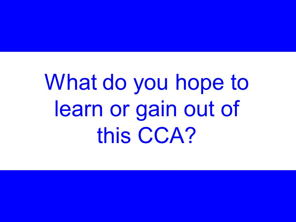 What do you hope to learn or gain out of this CCA