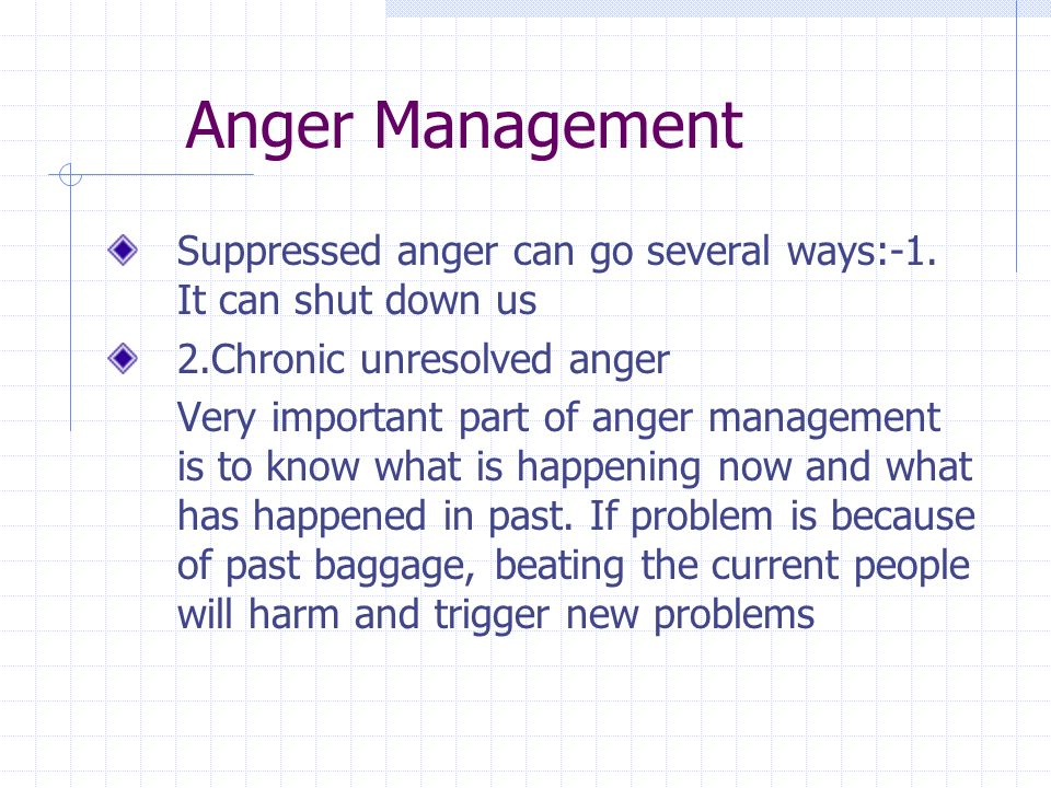 Anger Management Suppressed anger can go several ways:-1.