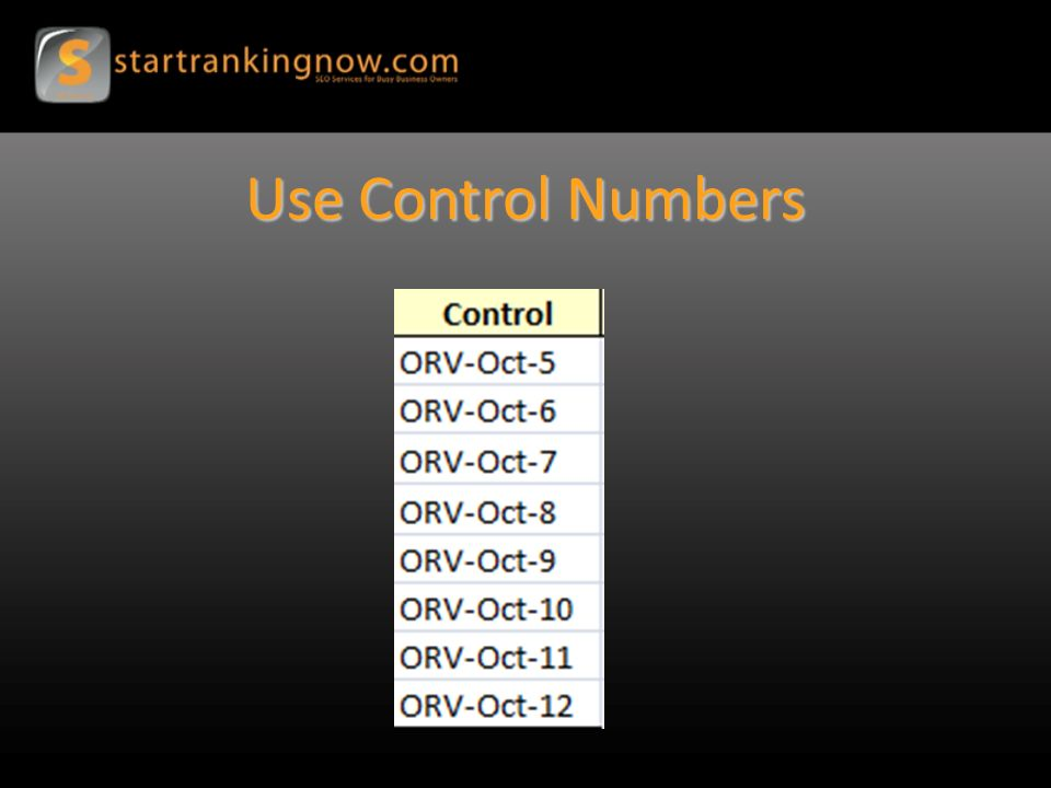 Use Control Numbers