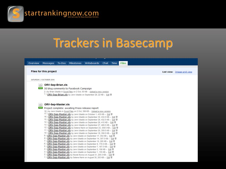 Trackers in Basecamp