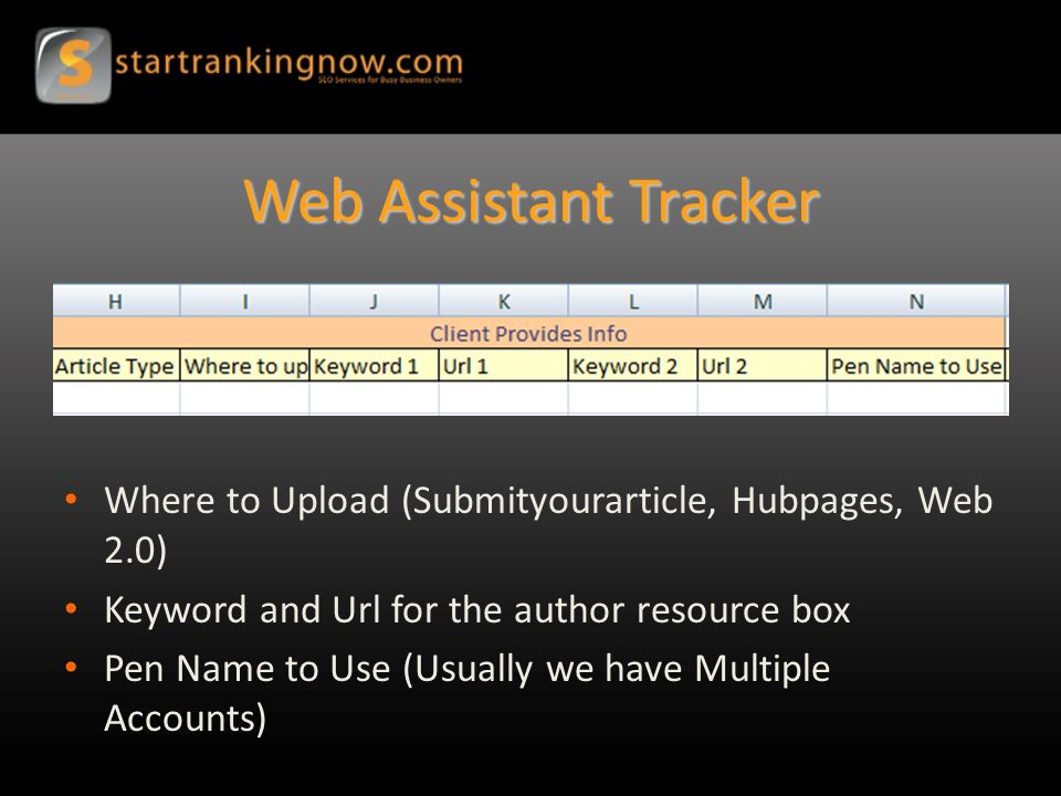 Web Assistant Tracker Where to Upload (Submityourarticle, Hubpages, Web 2.0) Keyword and Url for the author resource box Pen Name to Use (Usually we have Multiple Accounts)