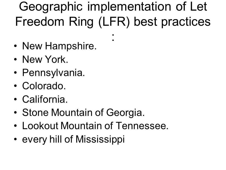 Geographic implementation of Let Freedom Ring (LFR) best practices : New Hampshire.