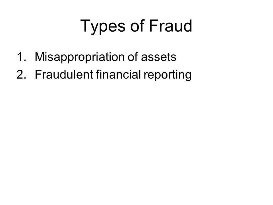 Types of Fraud 1.Misappropriation of assets 2.Fraudulent financial reporting