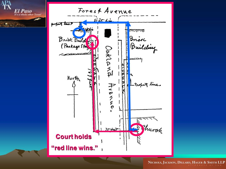Court holds red line wins. red line wins.
