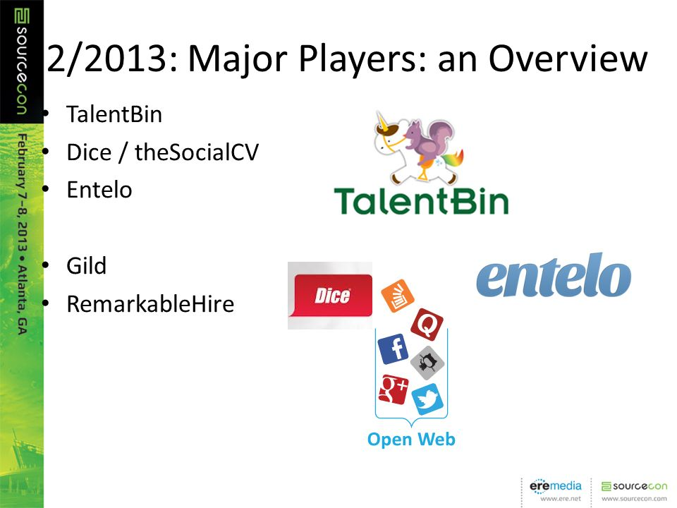2/2013: Major Players: an Overview TalentBin Dice / theSocialCV Entelo Gild RemarkableHire