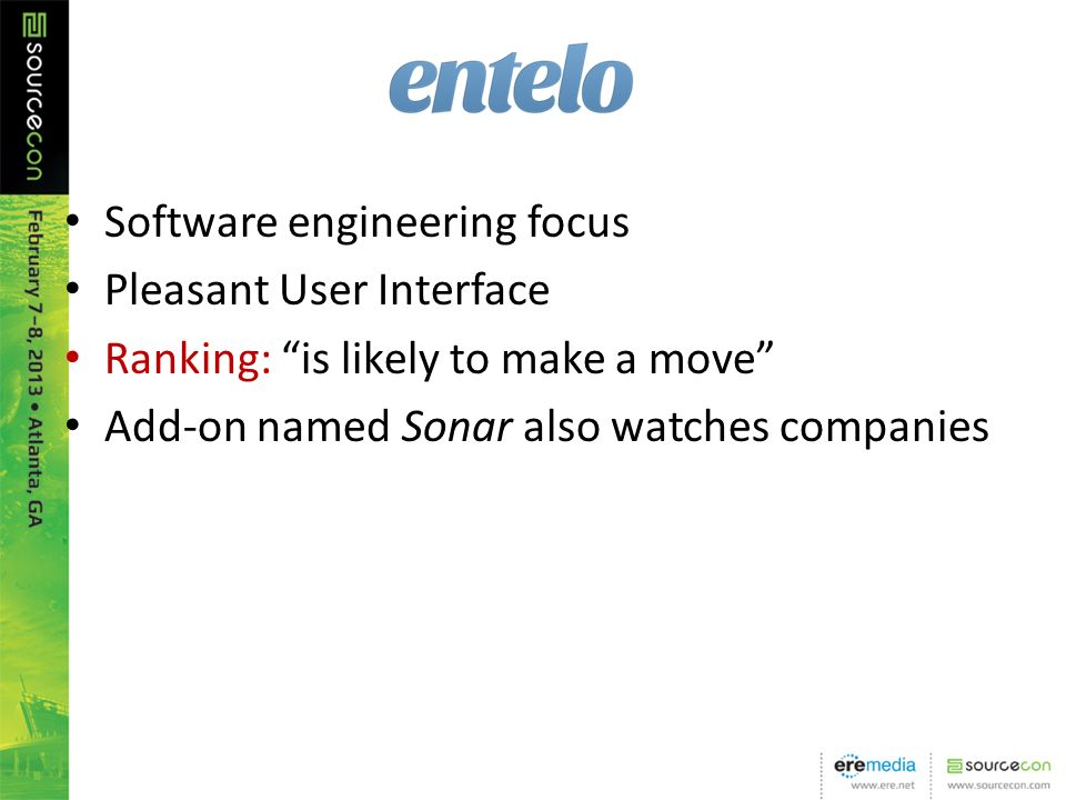 Software engineering focus Pleasant User Interface Ranking: is likely to make a move Add-on named Sonar also watches companies