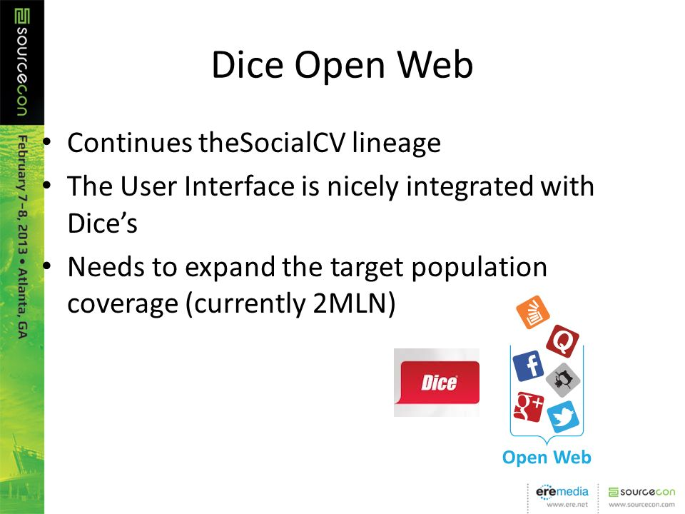 Dice Open Web Continues theSocialCV lineage The User Interface is nicely integrated with Dices Needs to expand the target population coverage (currently 2MLN)