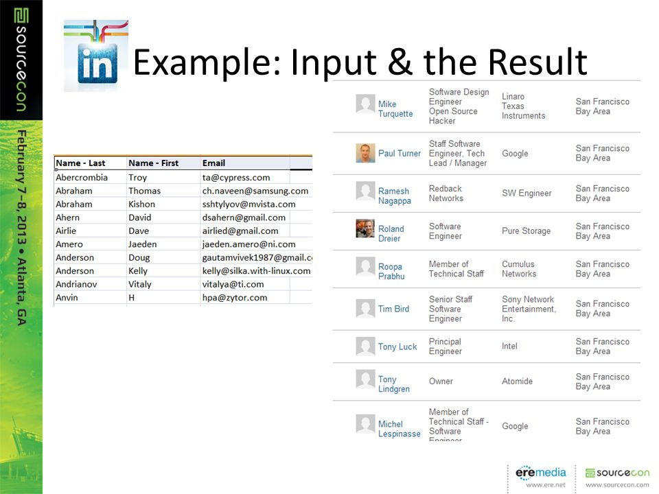 Example: Input & the Result