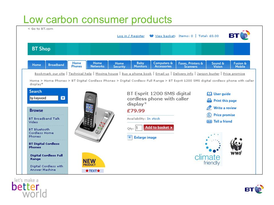 Low carbon consumer products
