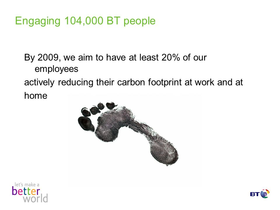 Engaging 104,000 BT people By 2009, we aim to have at least 20% of our employees actively reducing their carbon footprint at work and at home