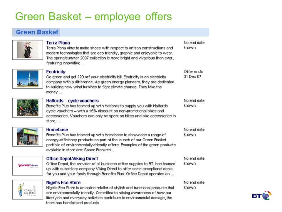 Green Basket – employee offers