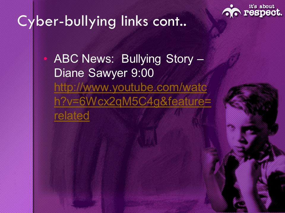 Cyber-bullying links cont..