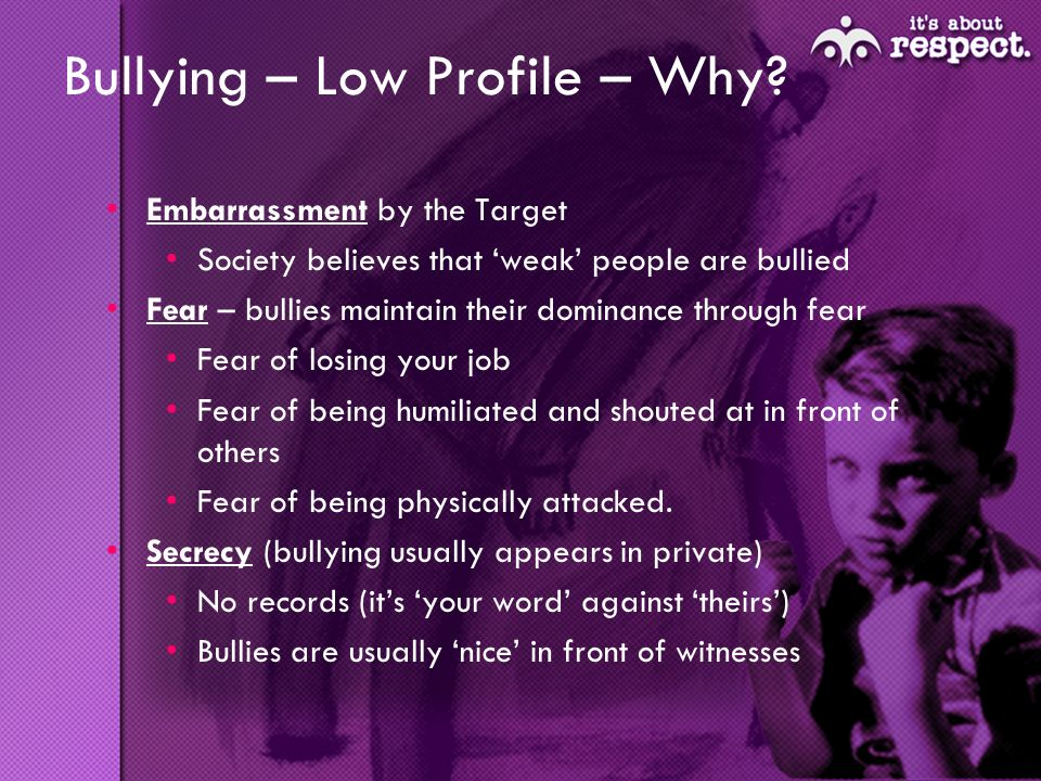 Bullying – Low Profile – Why.