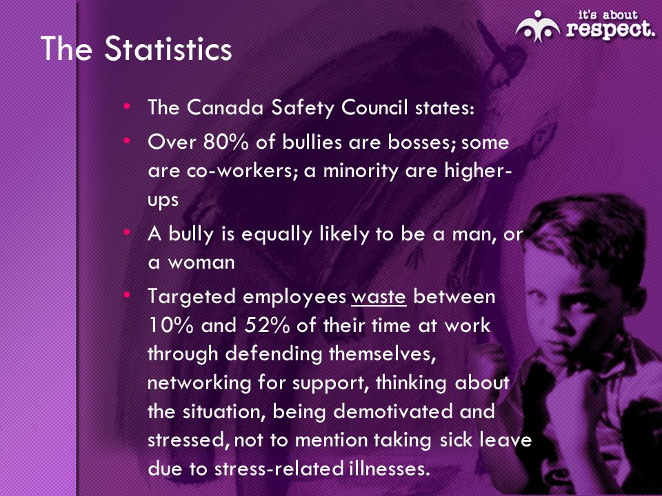 The Statistics The Canada Safety Council states: Over 80% of bullies are bosses; some are co-workers; a minority are higher- ups A bully is equally likely to be a man, or a woman Targeted employees waste between 10% and 52% of their time at work through defending themselves, networking for support, thinking about the situation, being demotivated and stressed, not to mention taking sick leave due to stress-related illnesses.