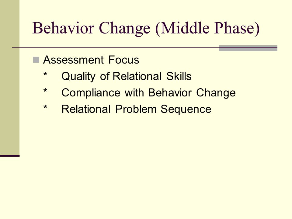 Behavior Change (Middle Phase) Assessment Focus *Quality of Relational Skills *Compliance with Behavior Change *Relational Problem Sequence