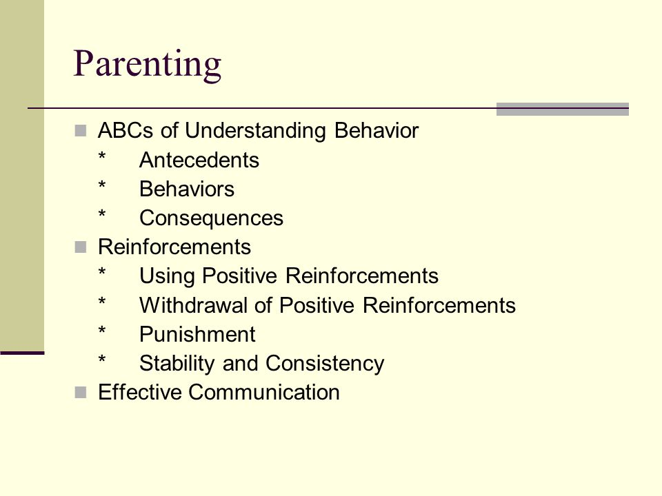 Parenting ABCs of Understanding Behavior *Antecedents *Behaviors *Consequences Reinforcements *Using Positive Reinforcements *Withdrawal of Positive Reinforcements *Punishment *Stability and Consistency Effective Communication
