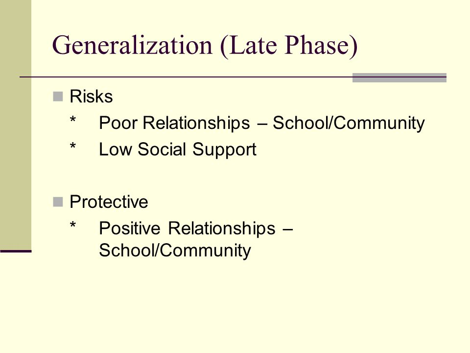 Generalization (Late Phase) Risks *Poor Relationships – School/Community *Low Social Support Protective *Positive Relationships – School/Community