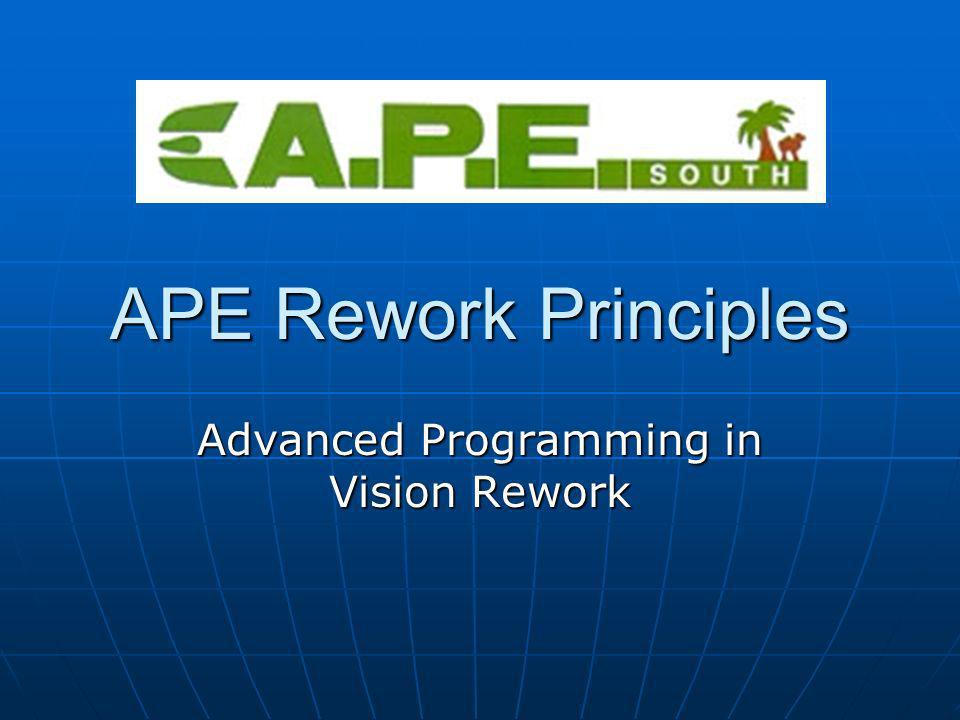 APE Rework Principles Advanced Programming in Vision Rework