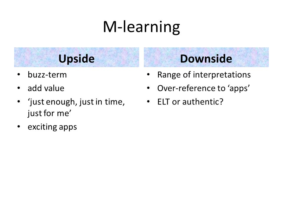 M-learning UpsideDownside buzz-term add value just enough, just in time, just for me exciting apps Range of interpretations Over-reference to apps ELT or authentic