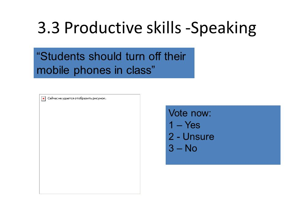 3.3 Productive skills -Speaking Students should turn off their mobile phones in class Vote now: 1 – Yes 2 - Unsure 3 – No