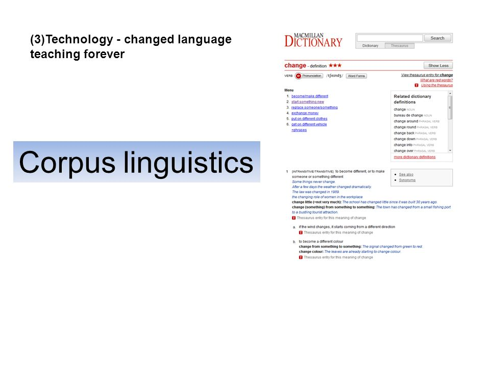 Corpus linguistics (3)Technology - changed language teaching forever