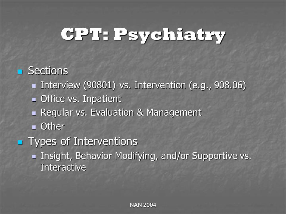 NAN 2004 CPT: Psychiatry Sections Sections Interview (90801) vs.