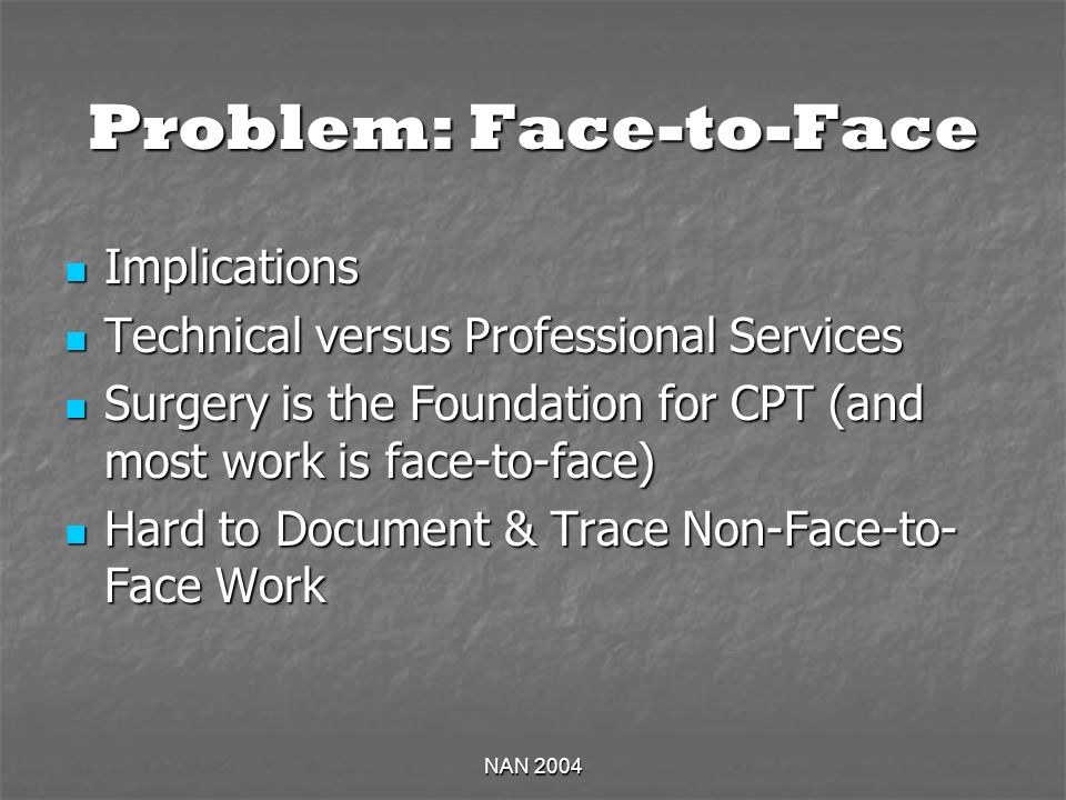 NAN 2004 Problem: Face-to-Face Implications Implications Technical versus Professional Services Technical versus Professional Services Surgery is the Foundation for CPT (and most work is face-to-face) Surgery is the Foundation for CPT (and most work is face-to-face) Hard to Document & Trace Non-Face-to- Face Work Hard to Document & Trace Non-Face-to- Face Work