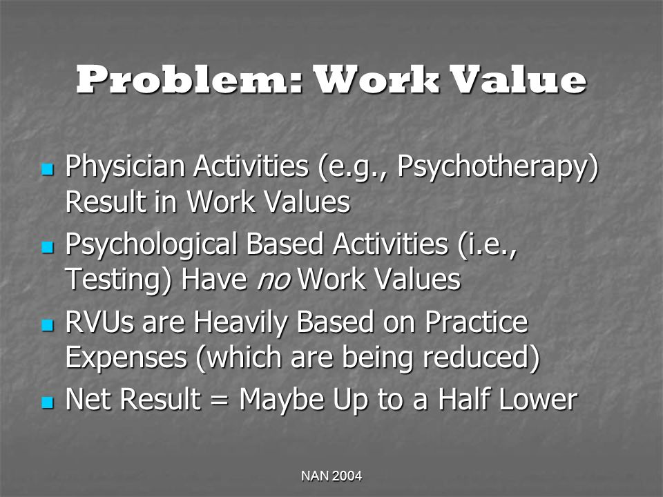 NAN 2004 Problem: Work Value Physician Activities (e.g., Psychotherapy) Result in Work Values Physician Activities (e.g., Psychotherapy) Result in Work Values Psychological Based Activities (i.e., Testing) Have no Work Values Psychological Based Activities (i.e., Testing) Have no Work Values RVUs are Heavily Based on Practice Expenses (which are being reduced) RVUs are Heavily Based on Practice Expenses (which are being reduced) Net Result = Maybe Up to a Half Lower Net Result = Maybe Up to a Half Lower