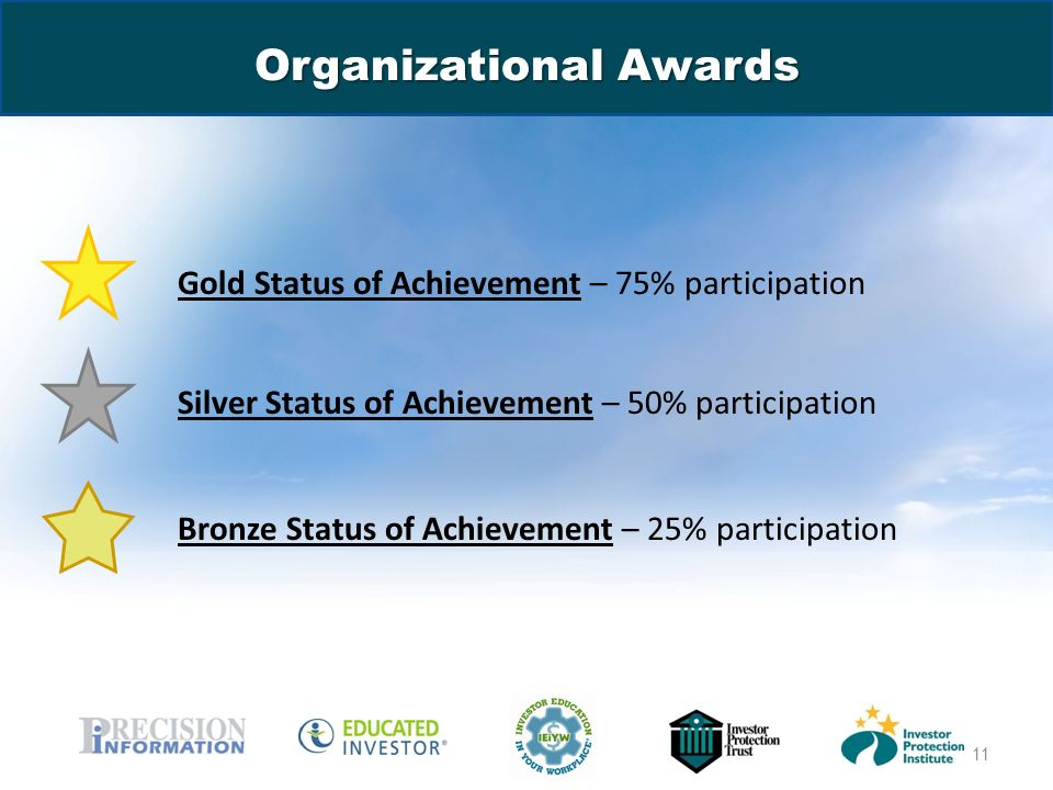 www.educatedinvestor.com Organizational Awards Gold Status of Achievement – 75% participation Silver Status of Achievement – 50% participation Bronze Status of Achievement – 25% participation 11