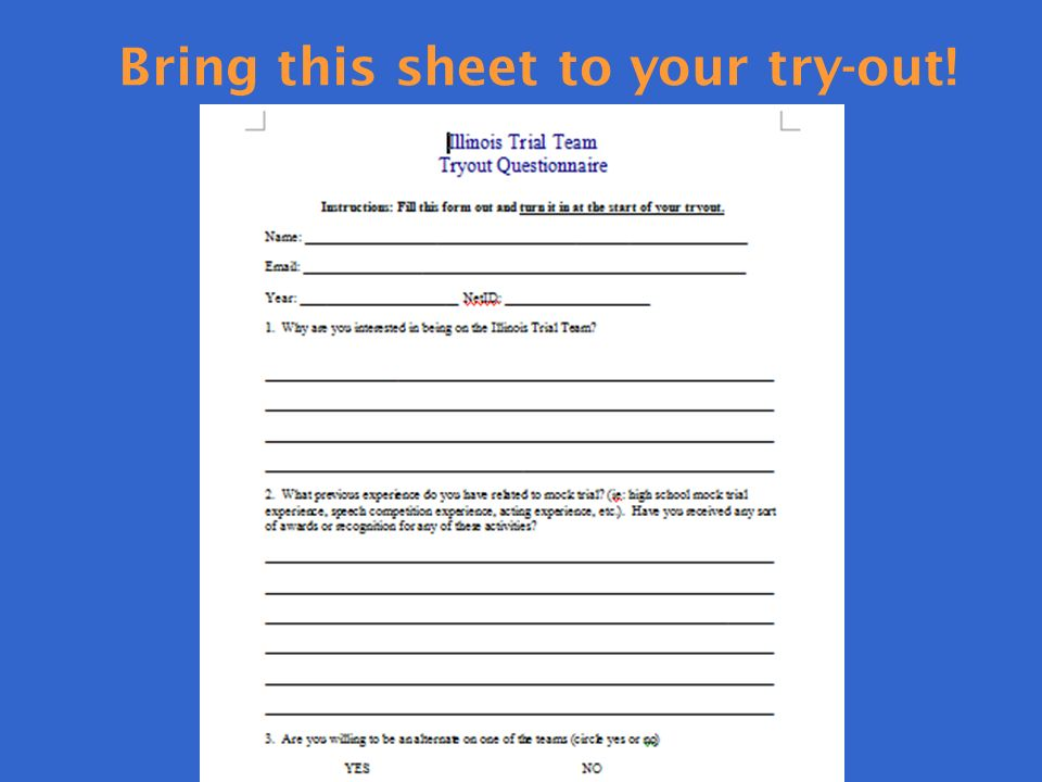 Bring this sheet to your try-out!
