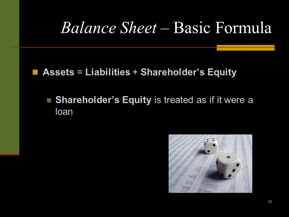 19 Balance Sheet – Basic Formula Assets = Liabilities + Shareholders Equity Shareholders Equity is treated as if it were a loan