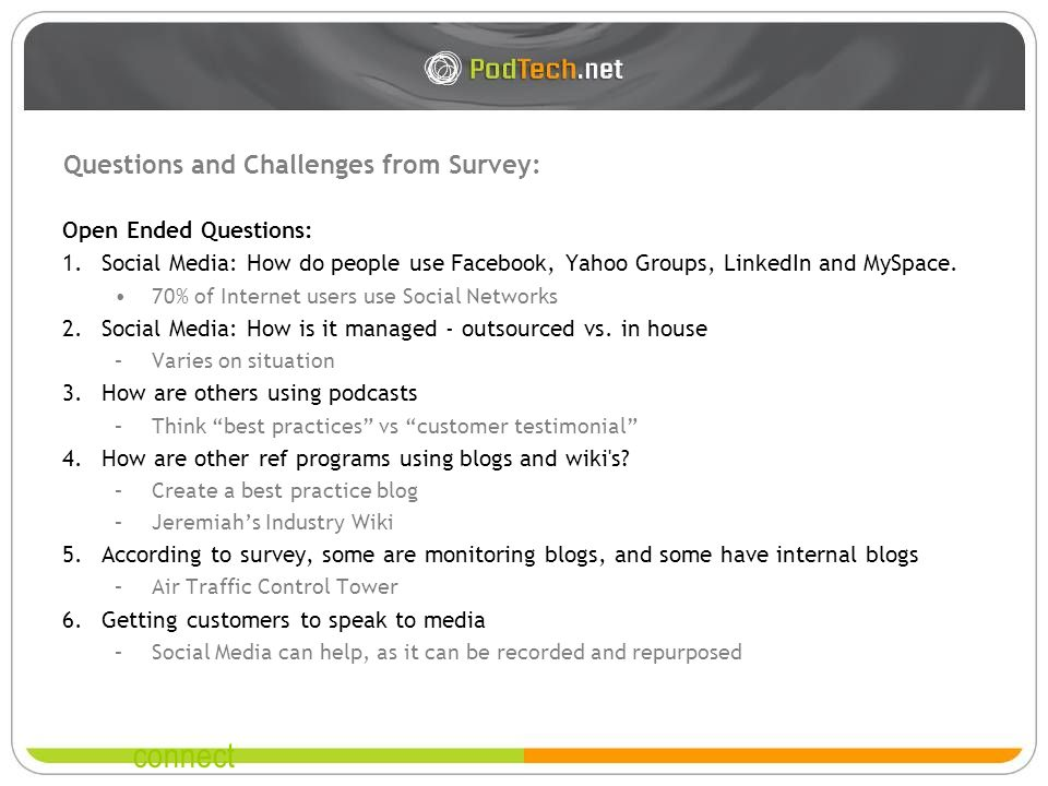 connect Questions and Challenges from Survey: Open Ended Questions: 1.Social Media: How do people use Facebook, Yahoo Groups, LinkedIn and MySpace.