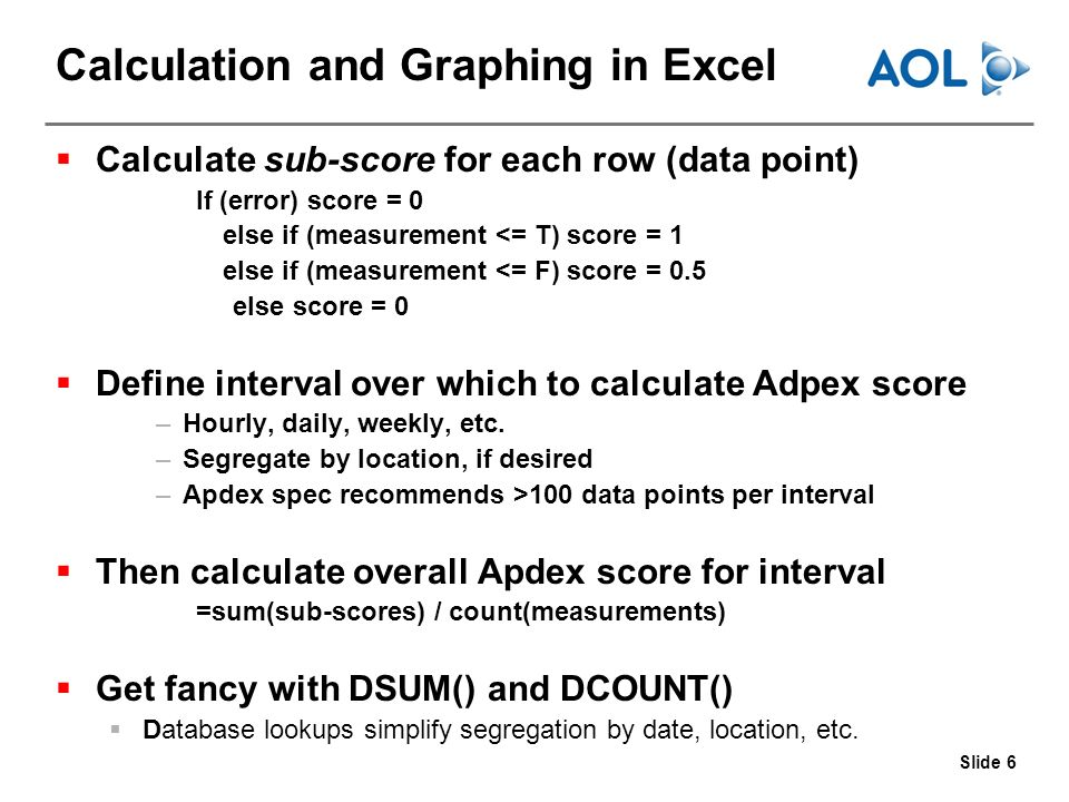 Slide 6 Calculation and Graphing in Excel Calculate sub-score for each row (data point) If (error) score = 0 else if (measurement <= T) score = 1 else if (measurement <= F) score = 0.5 else score = 0 Define interval over which to calculate Adpex score –Hourly, daily, weekly, etc.