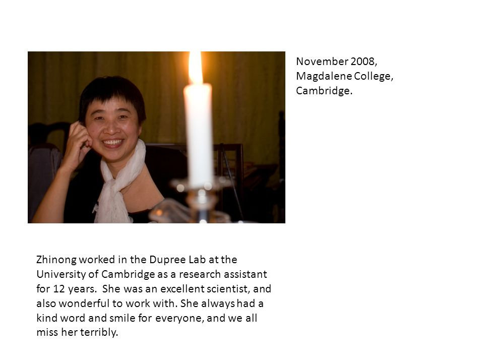 Zhinong worked in the Dupree Lab at the University of Cambridge as a research assistant for 12 years.