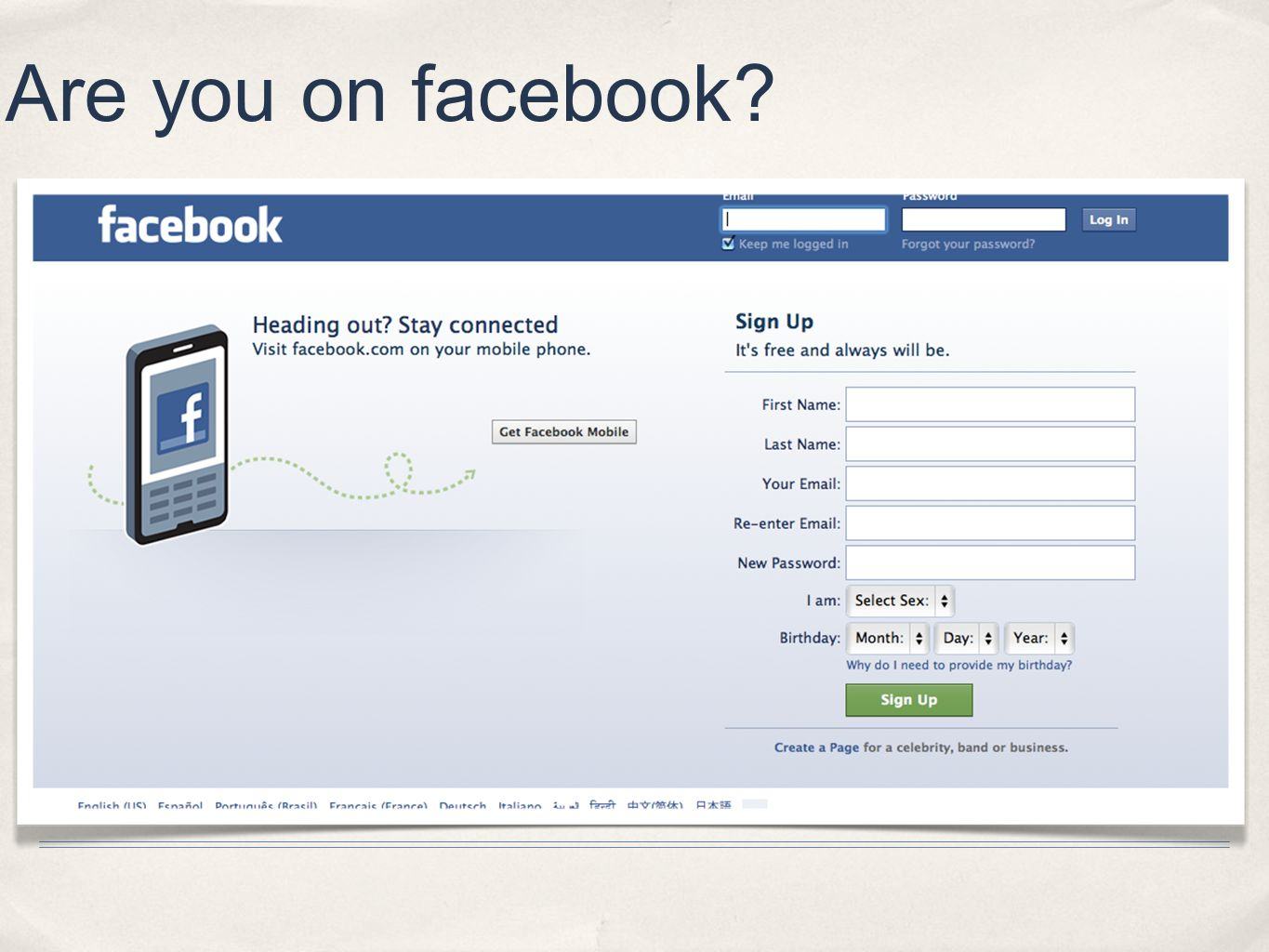Are you on facebook