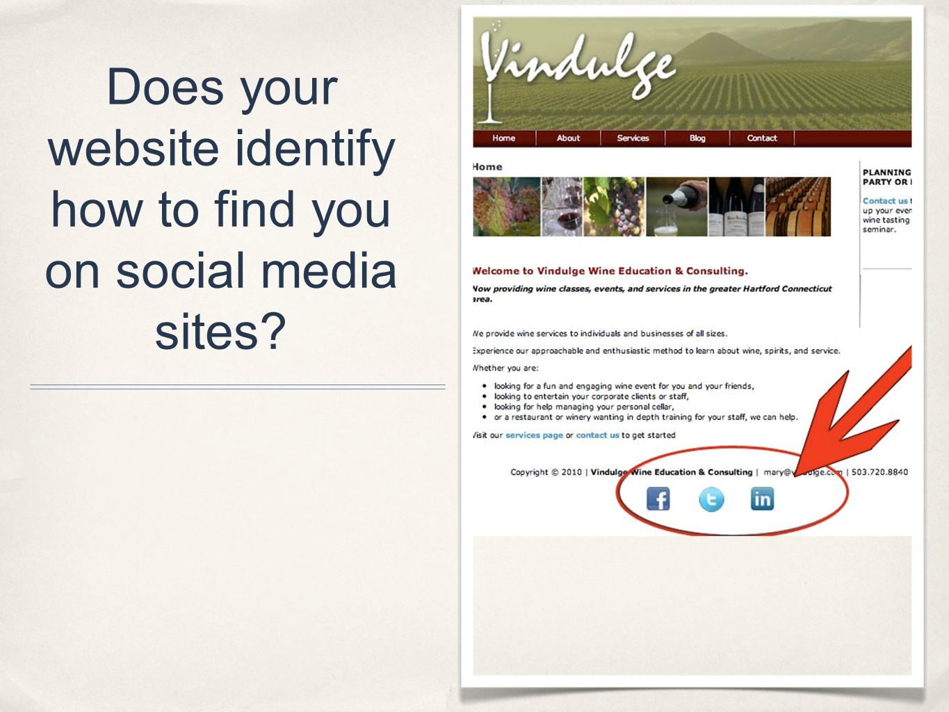 Does your website identify how to find you on social media sites