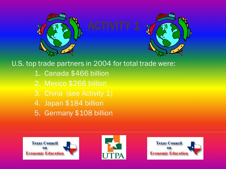 U.S. top trade partners in 2004 for total trade were: 1.