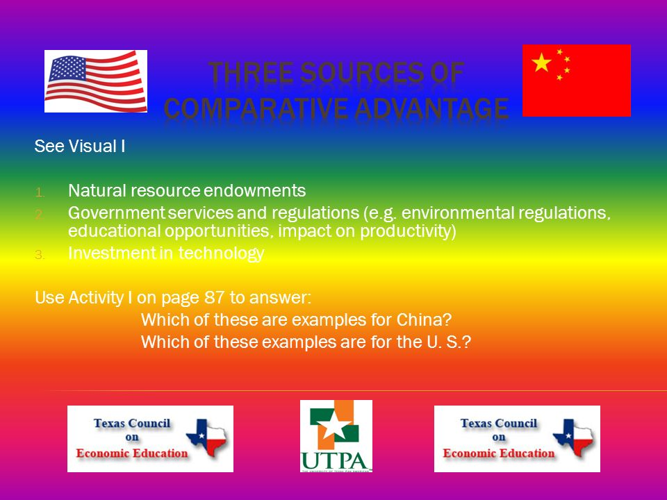 See Visual I 1. Natural resource endowments 2. Government services and regulations (e.g.