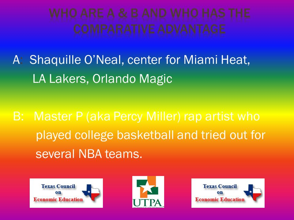 A: Shaquille ONeal, center for Miami Heat, LA Lakers, Orlando Magic B: Master P (aka Percy Miller) rap artist who played college basketball and tried out for several NBA teams.