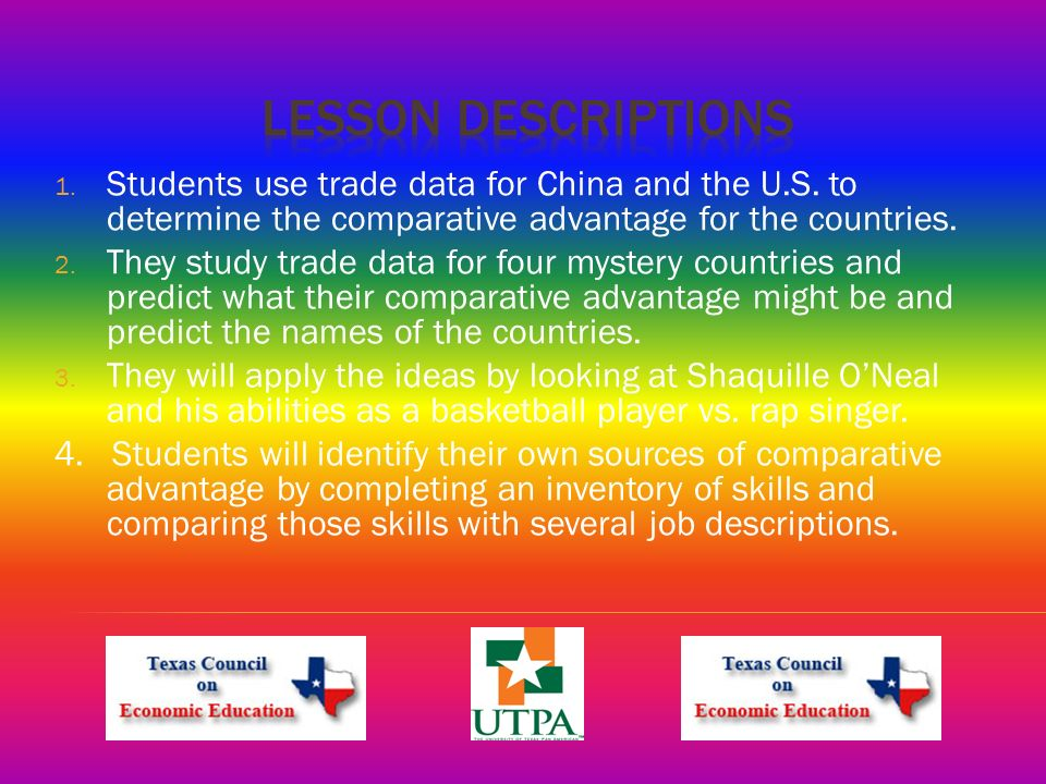 1. Students use trade data for China and the U.S.