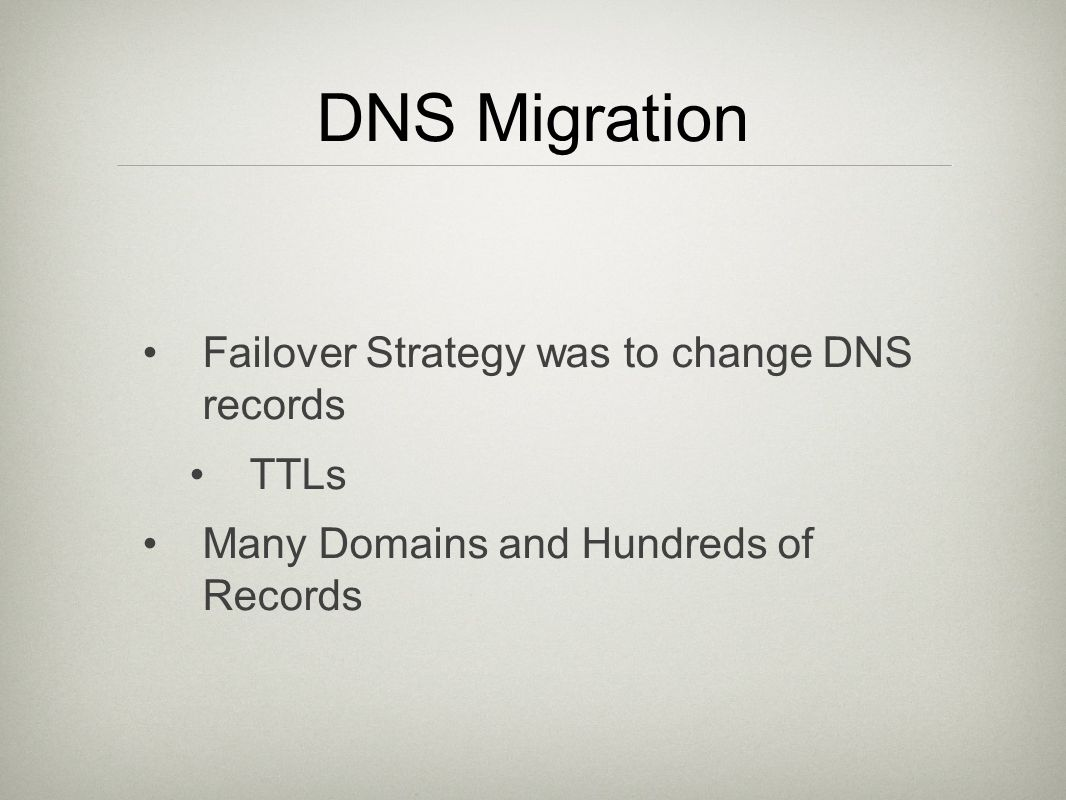 DNS Migration Failover Strategy was to change DNS records TTLs Many Domains and Hundreds of Records