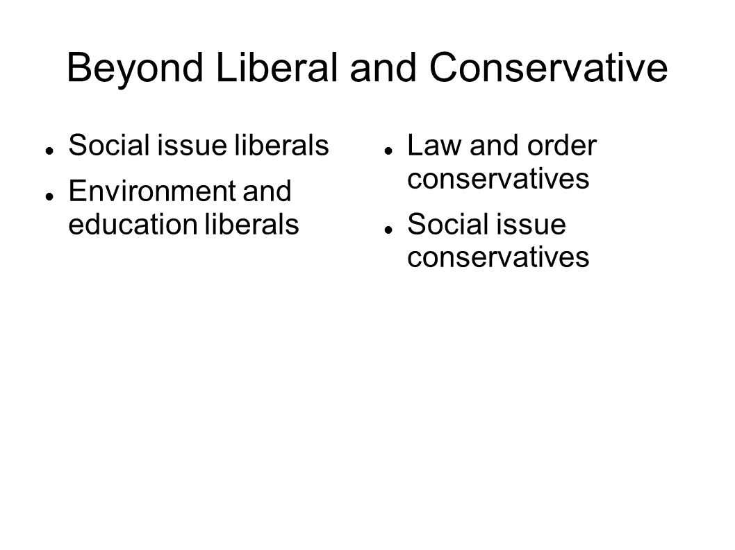 Beyond Liberal and Conservative Social issue liberals Environment and education liberals Law and order conservatives Social issue conservatives