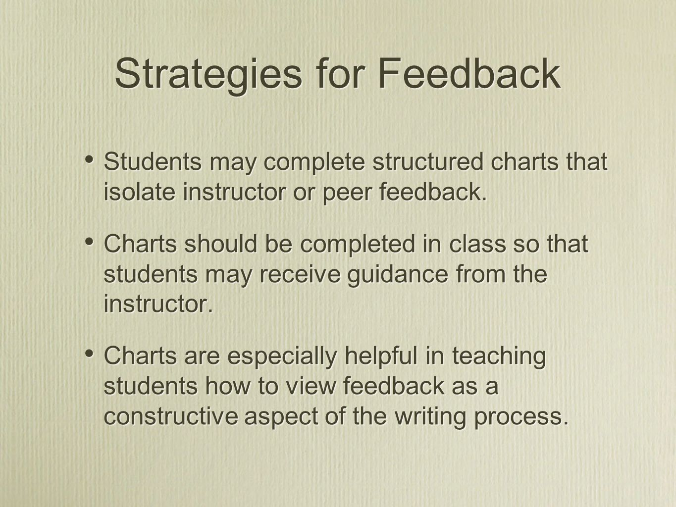 Strategies for Feedback Students may complete structured charts that isolate instructor or peer feedback.