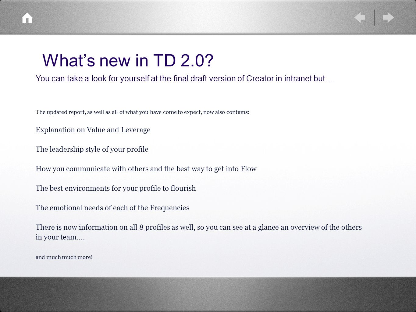 Whats new in TD 2.0.