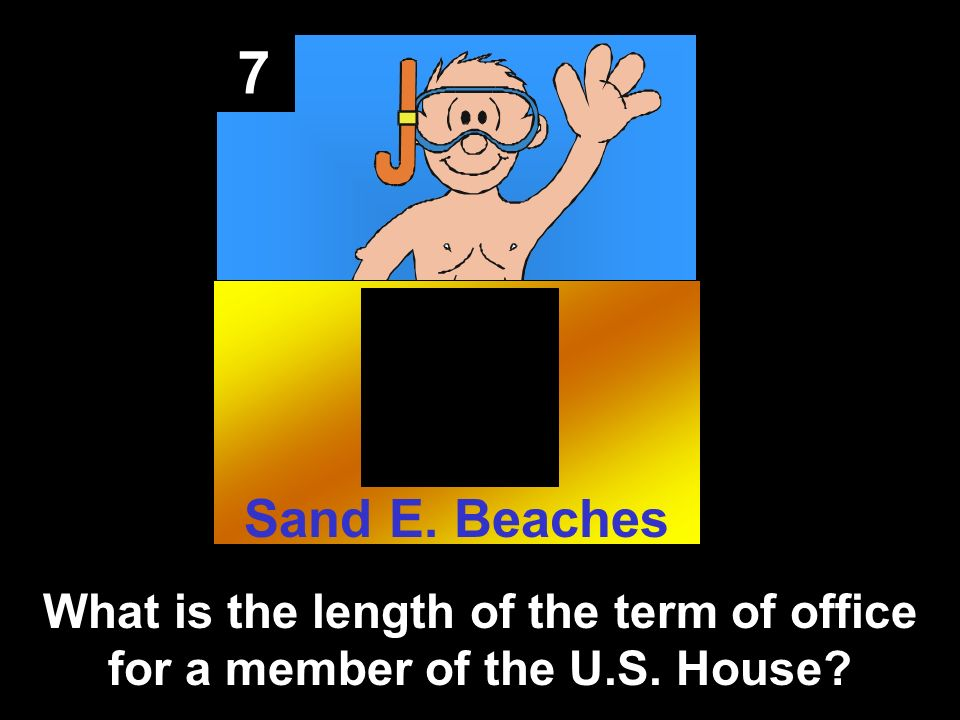 7 What is the length of the term of office for a member of the U.S. House Sand E. Beaches
