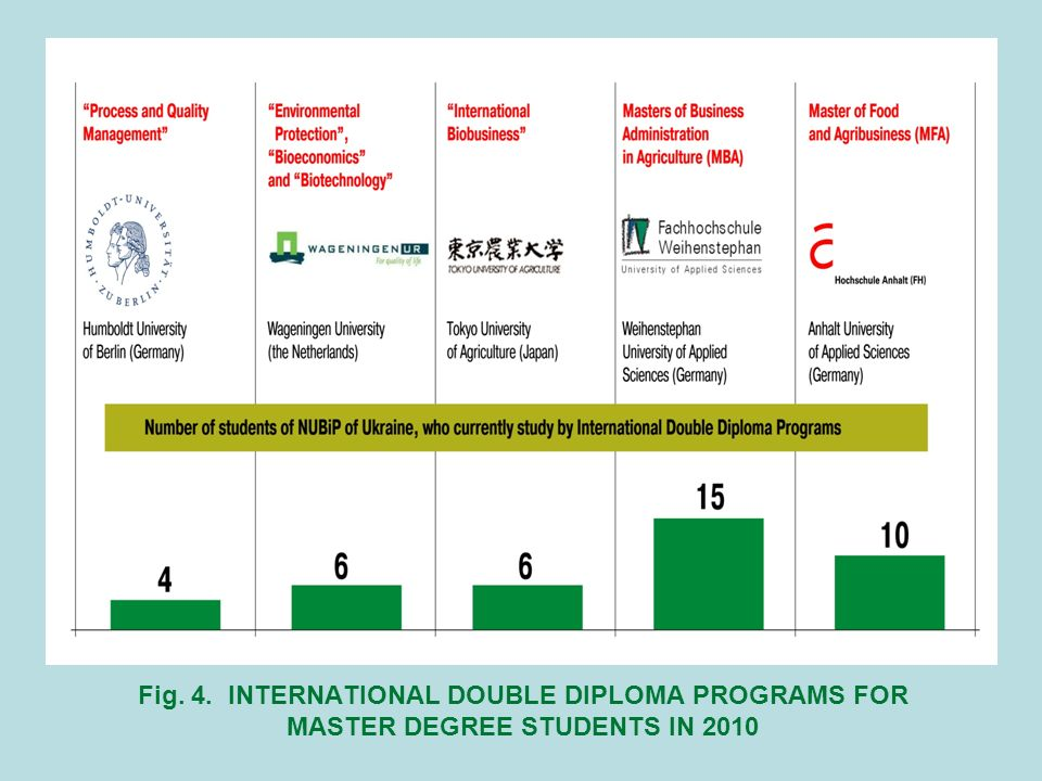 Fig. 4. INTERNATIONAL DOUBLE DIPLOMA PROGRAMS FOR MASTER DEGREE STUDENTS IN 2010