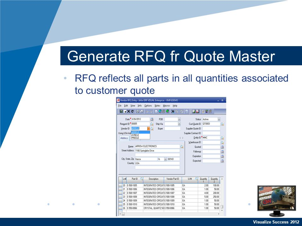 Visualize Success 2012 Generate RFQ fr Quote Master RFQ reflects all parts in all quantities associated to customer quote