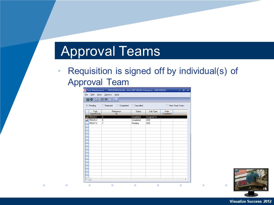 Visualize Success 2012 Approval Teams Requisition is signed off by individual(s) of Approval Team