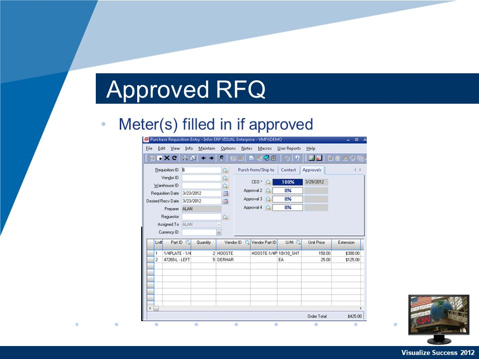 Visualize Success 2012 Approved RFQ Meter(s) filled in if approved